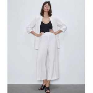 Zara White Wide-Leg High Waist Cropped Culottes XS